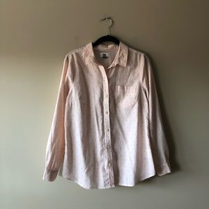 Old Navy pink polka dot button down top